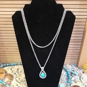 Avon turquoise dual chain teardrop necklace GUC